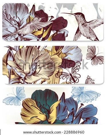 Vector set of floral hand drawn brochures with hummingbirds for business cards design