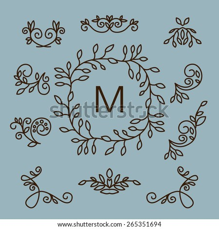 Vector set of floral line design elements for logos, frames and borders in modern trendy mono line style - stock vector