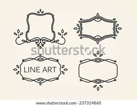 vector set of floral monogram frames. line art elements for design - stock vector