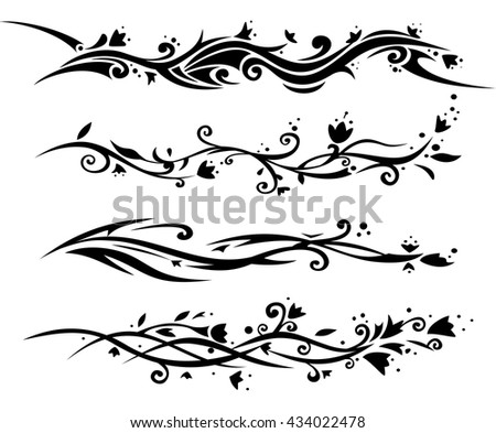 Vector set of floral tattoo for women.