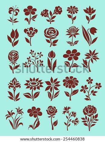 vector set of flower icons - stock vector