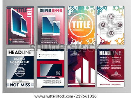 vector set of flyers templates brochures A4 size, abstract examples - stock vector
