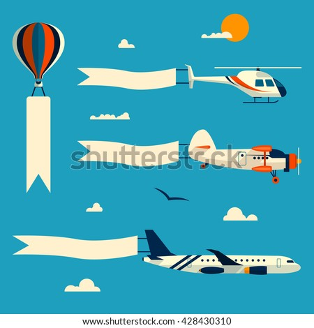 Vector set of flying balloon, helicopter, airplane and retro biplane with advertising banners. Template for text. Design elements in flat style. - stock vector