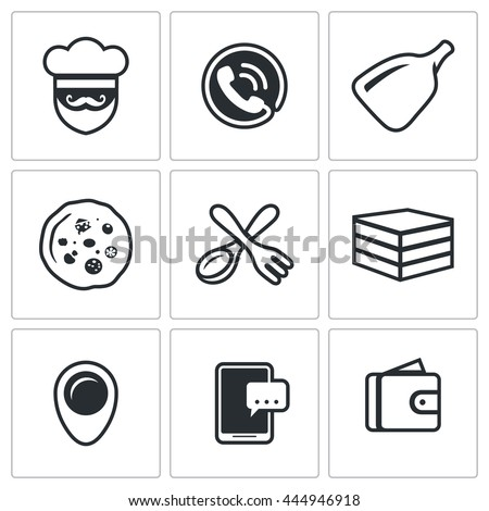 Vector Set of Food Delivery Icons. Cook, Order Manager, Shoulder baker, Pizza, Cutlery, Box Food, Address, Booking, Payment.  - stock vector