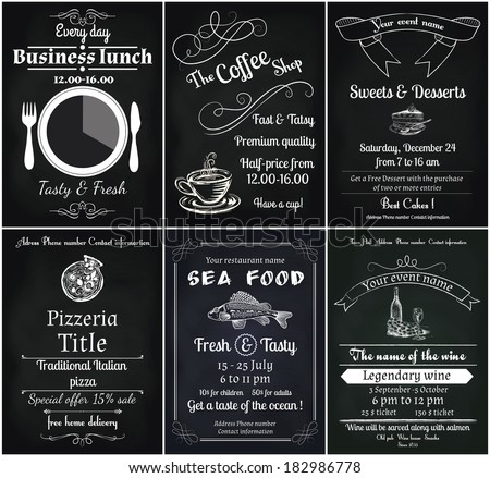 vector set of 6 food flyers, including coffee, dessert, sea food, wine , pizza and business lunch flyers - stock vector