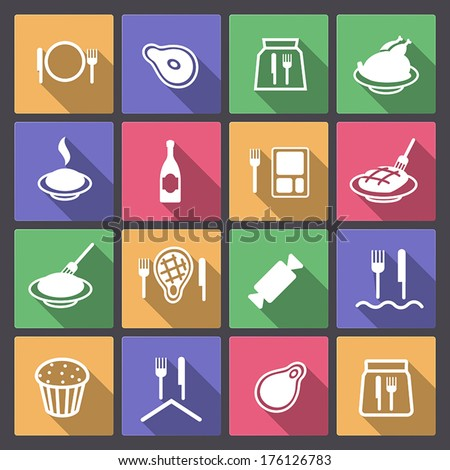 Vector set of food icons in flat design