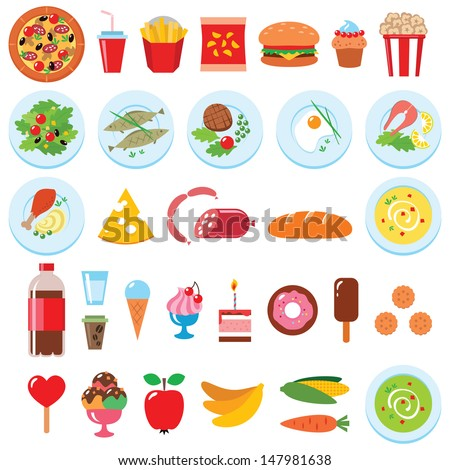 Vector set of food isolated on white - stock vector