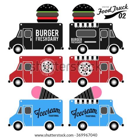 Vector set of food truck - stock vector