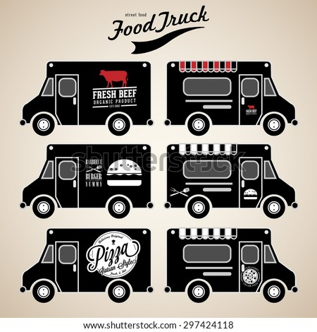Vector set of food truck on black - stock vector