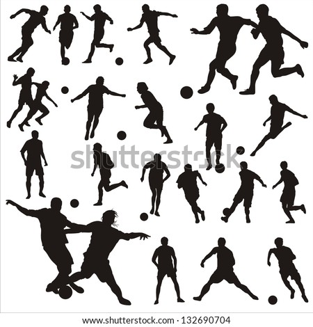 Vector set of football-players - stock vector