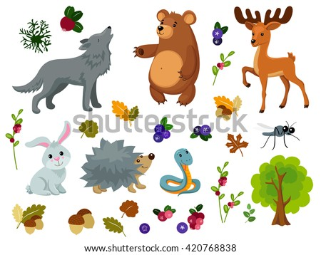 Vector Set of Forest Animals. Individual objects very easy to edit, ideal for childs decoration.