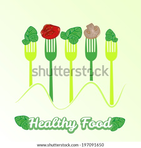 vector set of forks with fresh healthy slices of vegetables: spinach, tomato