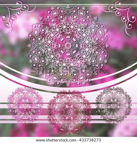 Vector set of four circular floral pattern. Stylized white flowers on a blurred background. Summer design.