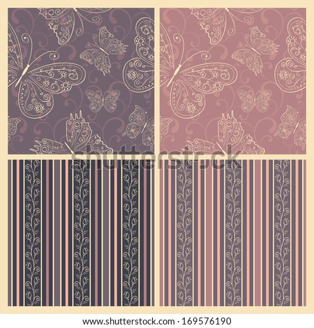 Vector set of four cute seamless pattern in soft pastel  grey, pink, lilac, beige, purple colors with hand drawn flowers and butterflies.  - stock vector