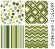 vector set of four different retro seamless pattern - stock vector