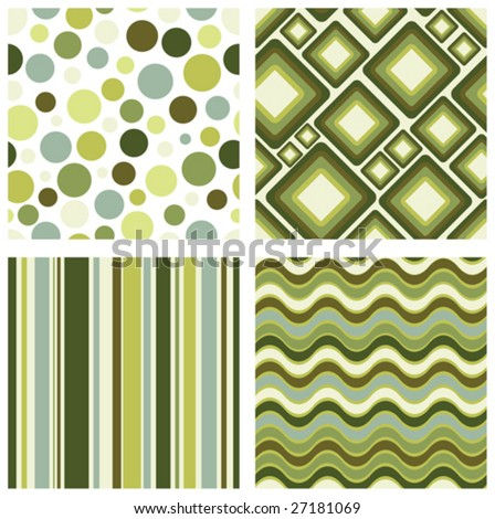 vector set of four different retro seamless pattern