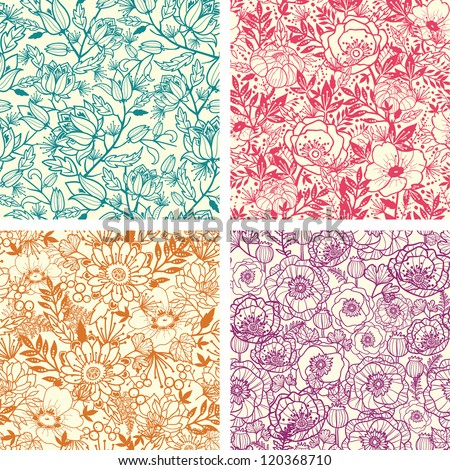 Vector set of four floral line art seamless pattern background with abstract floral elements. - stock vector