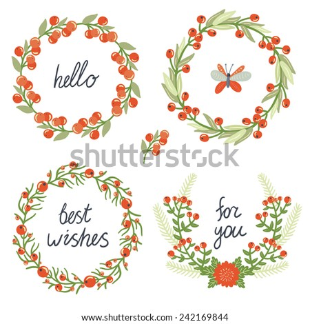 Vector set of four floral wreathes with hand written text. Beautiful decorative elements with branches, flowers, berries and butterfly. Wedding design - stock vector