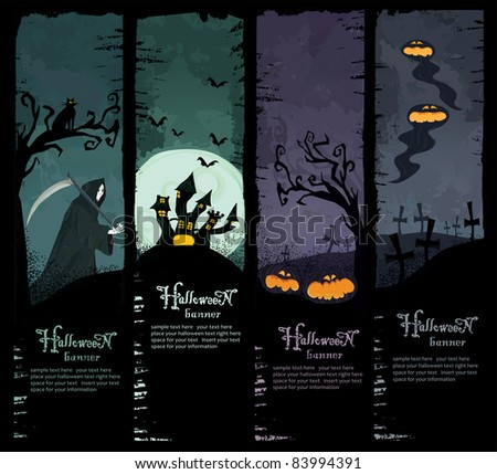 Vector Set of four grunge Halloween banners. Standard size. Grim reaper, haunted castle, spooky pumpkins and scary ghosts on the graveyard. Everything you need for your Halloween party - stock vector
