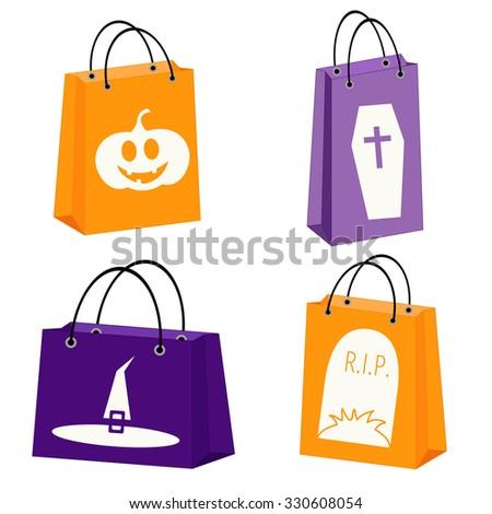 vector set of four Halloween paper bags with Halloween symbols - stock vector