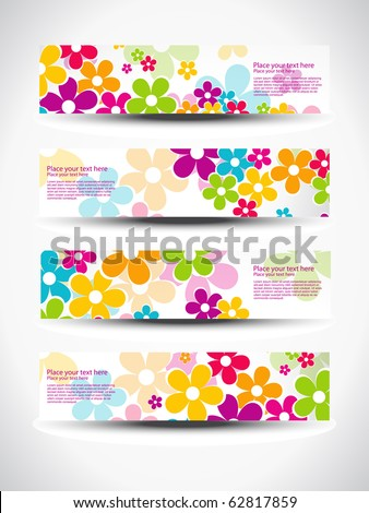 vector set of four header design