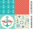 Vector set of four nautical seamless patterns, marine symbols. Use to create quilting patches or seamless backgrounds for various textile and craft projects. - stock vector