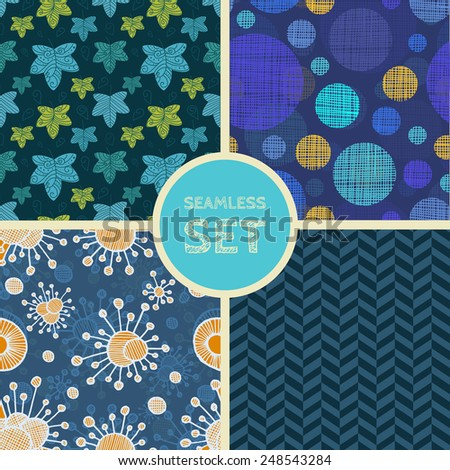 Vector set of four seamless backgrounds. Patterns for scrap-booking, fabric design. Eps10 - stock vector