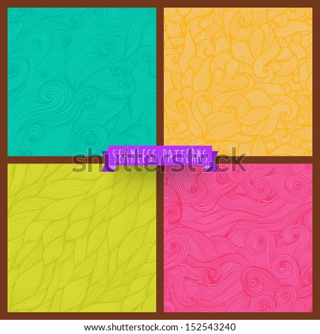 Vector set of four seamless hand-drawn pattern, waves background. Vector backdrop. Bright pattern. Collection. Combo. Set. Hand drawn abstract backdrop. Wallpaper for pattern fills, web page.  - stock vector