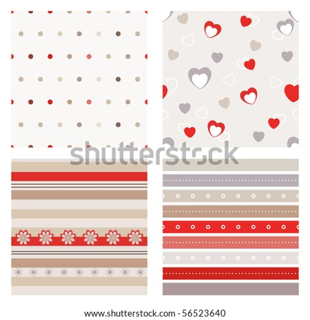 Vector set of four seamless patterns - stock vector