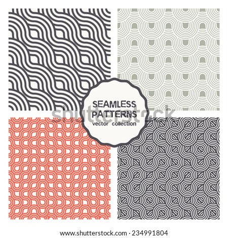 Vector set of four seamless patterns. Abstract backgrounds. Striped ribbons, regular wavy grids. Strict geometric patterns can be used for business cards, textiles, wallpaper, packaging - stock vector
