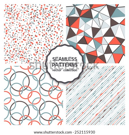 Vector set of four seamless patterns. Colorful rings, confetti, triangles and garlands. Funny carnival backgrounds. Festival cheerful textures - stock vector