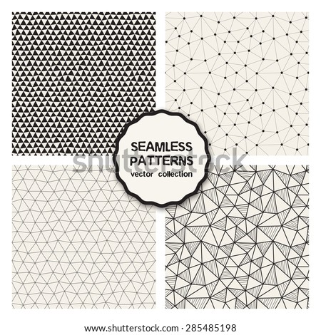 Vector set of four seamless patterns. Repeating geometric tiles. Collection of trendy textures with triangles. Stylish hipster prints. Hand drawn sketch style. Monochrome graphic design. - stock vector