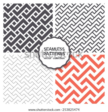 Vector set of four seamless patterns. Repeating geometric tiles with rectangular puzzles, linear grids, classical trellis and herringbone - stock vector