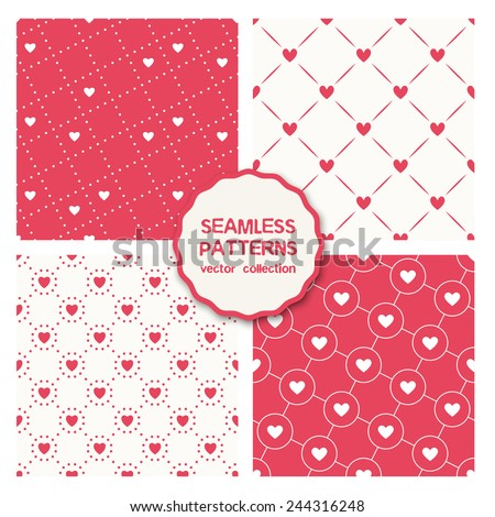 Vector set of four seamless patterns. Stylish collection of geometric patterns. Monochrome holiday prints, backgrounds with rotated dotted squares, circles and hearts - stock vector