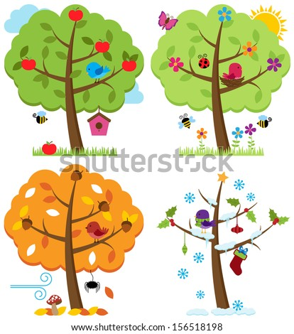 Vector Set of Four Seasons Trees with Birds - stock vector