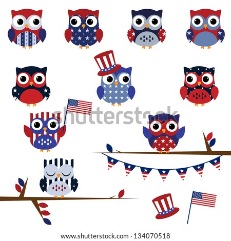 Vector Set of Fourth of July Patriotic Owls - stock vector