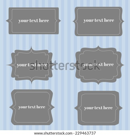 vector set of frames and labels. vignette with space for your text.
