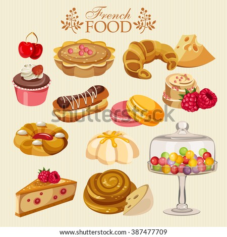 Vector set french cuisine national food stock vector for Cuisine francaise
