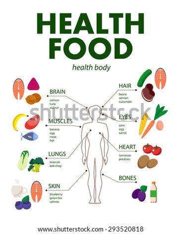 Vector set of fresh and health food icons and elements. Flat food illustration with infographic elements. Good for any graphic design and magazine or book illustration.