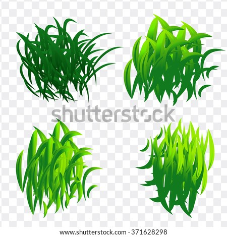 Vector set of fresh green grass in different shapes and gradients. Sunny and natural plant turfs on grass on transparent background. Bright grass elements for design. - stock vector