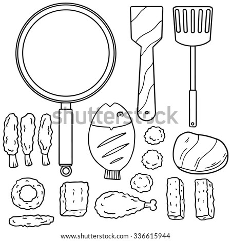vector set of fried food and pan
