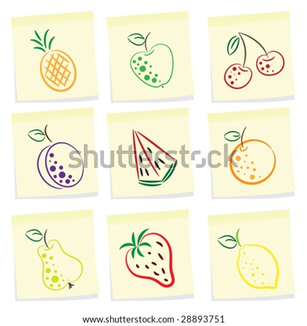 vector set of fruit icon on note paper