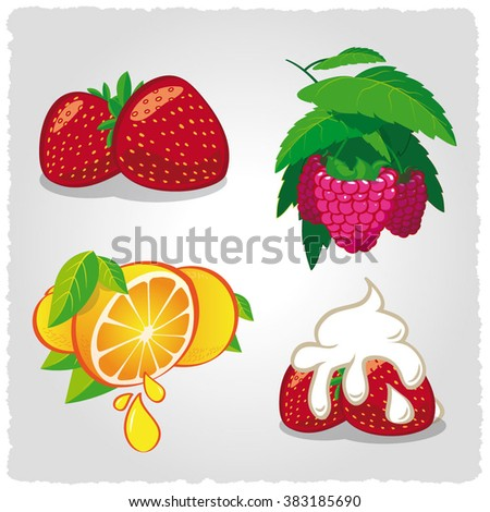 Vector set of fruits.