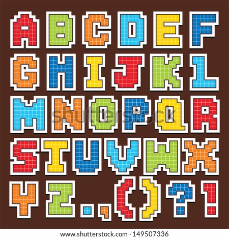 pixel art letters vector set pixel alphabet stock vector 149507336 11372 | stock vector vector set of fun pixel art alphabet stickers in primary colors good for scrap booking school 149507336