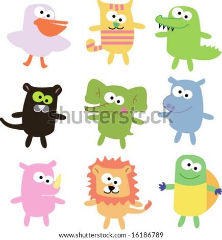 vector set of funny animals 07 - stock vector