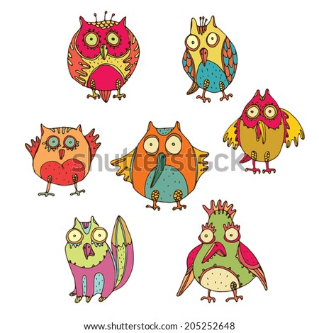 Vector set of funny birds - stock vector