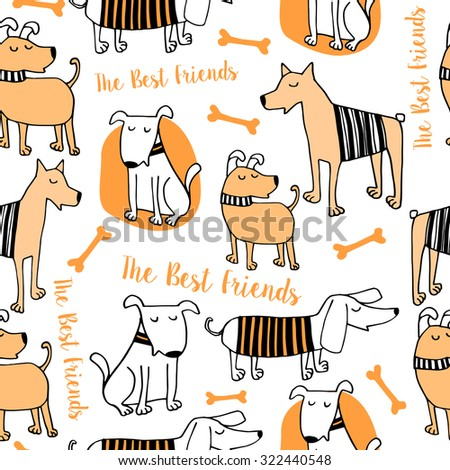 Vector set of funny cartoon dogs - illustration in flat style - stock vector