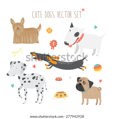 Vector set of funny cartoon dogs with Yorkshire Terrier, Dalmatian, Dachshund, Bull Terrier and Pug.  - stock vector