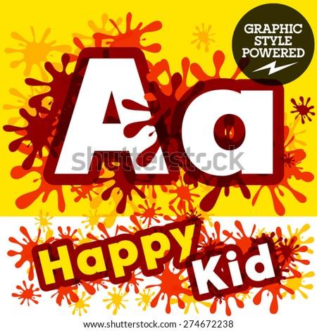 Vector set of funny children splash alphabet. Letter A - stock vector