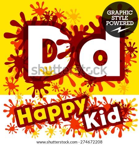 Vector set of funny children splash alphabet. Letter D - stock vector